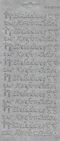 Konturensticker Silber, Einladung Zur Konfirmation ...