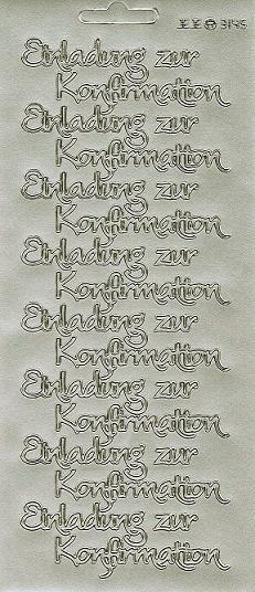 Konturensticker Silber Einladung Zur Konfirmation Modern, Sticker Gold,  Silber Und Weiss Grosse Auswahl Für Die Konfirmation Und Kommunion, ...