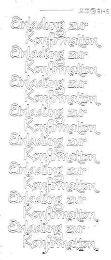Konturensticker Weiß Einladung Zur Konfirmation Modern, Sticker Gold,  Silber Und Weiss Grosse Auswahl Für Die Konfirmation Und Kommunion, Sticker  Schriften ...