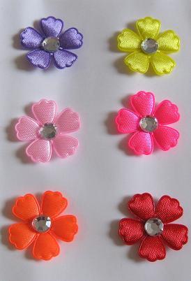 Stoff Blumen Mit Strass Buntmix 6 Stück