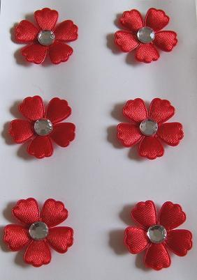 Stoff Blumen Mit Strass Rot 6 Stück